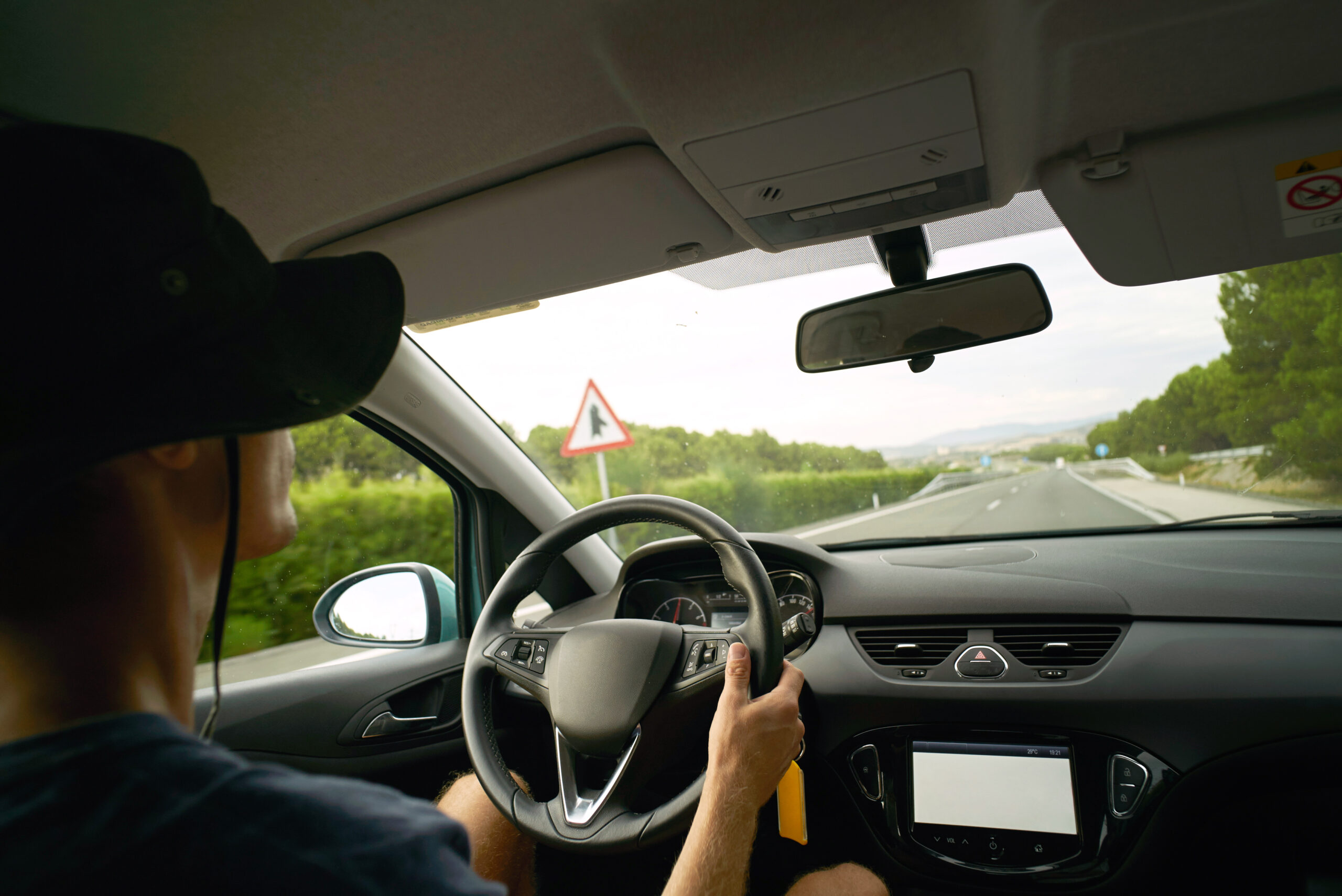 Car traveling and gps navigation on interurban road